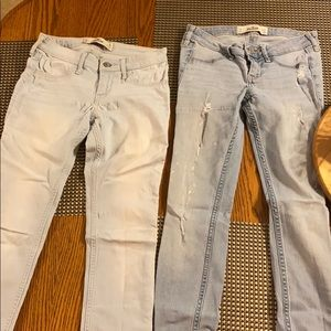 2 pairs of light wash Hollister jeans
